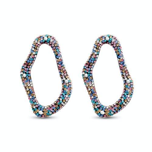 Εντυπωσιακό οβάλ πολύχρωμo σκουλαρίκι