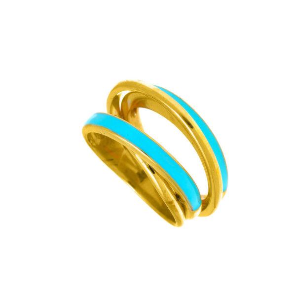 Δαχτυλίδι βεράκια με τιρκουάζ σμάλτο