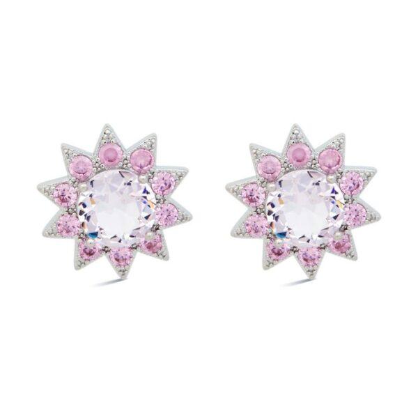 Σκουλαρίκια καρφωτά μεγάλα σε σχήμα αστεριού λευκό-λιλά