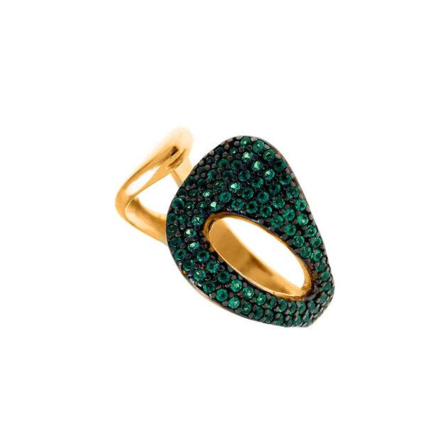 Δαχτυλίδι με πράσινες πέτρες