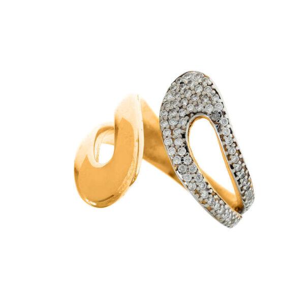 Δαχτυλίδι κίτρινο λευκή λεπτομέρεια
