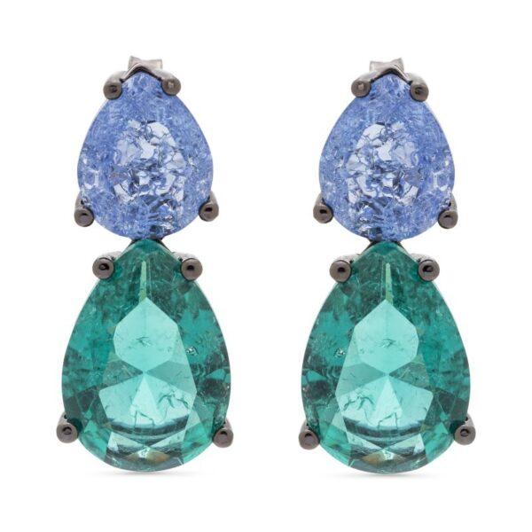 Σκουλαρίκια με ημιδιάφανο μπλε-πράσινο χρώμα