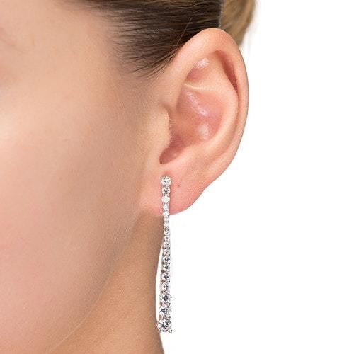 Σκουλαρίκια γραμμή με λευκά ζιργκόν