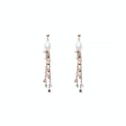 Κρεμαστό σκουλαρίκι με μαργαριτάρι και τουρμαλίνες