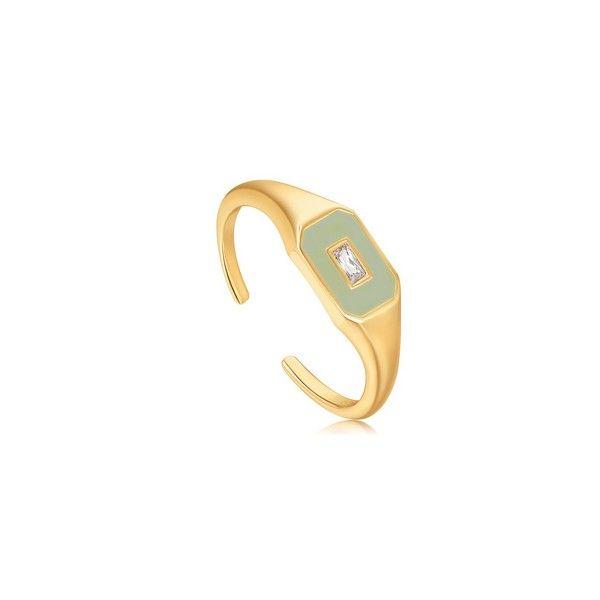 Χρυσό δαχτυλίδι με πράσινο σμάλτο